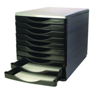 Black and Grey 10 Drawer Tower