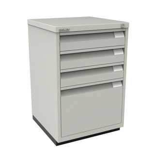 Filing Cabinet 3+1 Drawer Flush Fronted Lockable Goose Grey