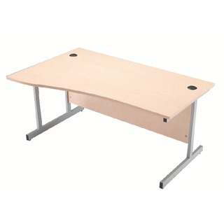 Maple/Silver 1600mm Left Hand Cantilever Wave Desk