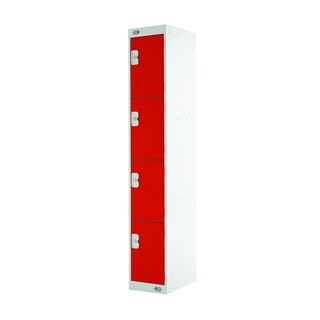 Express Standard Locker Four Compartments Red 450mm Deep