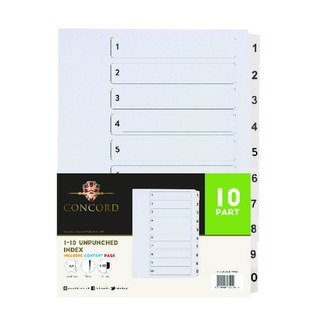 A4 Unpunched Presentation 1-10 Index Dividers (10 Pack)