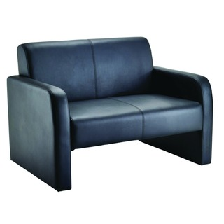 Flat Pack Leather Look Black Reception Sofa