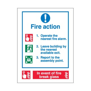 200 x 150mm Fire action 3 colour - self-adhesive vinyl