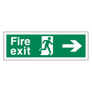 150 x 450mm Fire Exit arrow right - self-adhesive vinyl