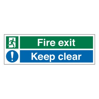 150 x 450mm Keep Clear Fire Exit - self-adhesive vinyl