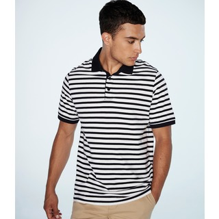 Front Row Striped Jersey Polo