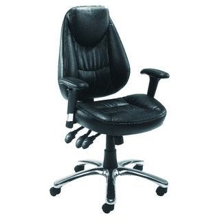 Calabria Black Leather Look Operator Chair