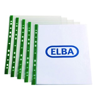 A4 Clear Punch Pocket Green Spine (100 Pack) 400002137