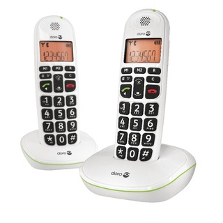 DECT White Big Button Cordless Phone (2 Pack) PHONEEASY 100W