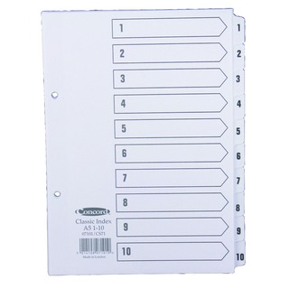 Classic Index 1-10 A5 White Board With Clear Mylar Tabs 07101/Cs