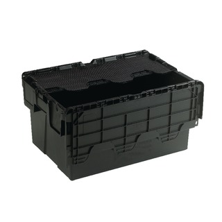 Black Attached Lid Container 54L 375814