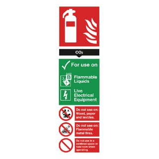 fety Sign Carbon Dioxide Fire Extinguisher 280x90mm PVC F103/