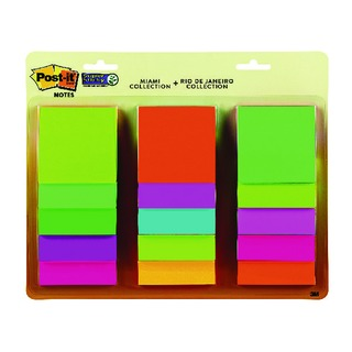 Post-it Super Sticky 76x76mm Rio and Miami Collection (15 Pack) 654-15AAMULTI