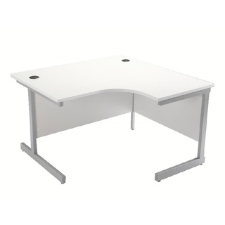 White/Silver 1200mm Right Hand Cantilever Radial Desk