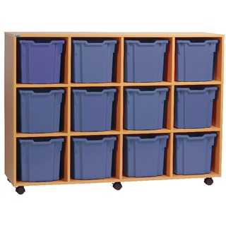 Jumbo Beech Mobile Storage Unit 12 Tray