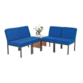 Reception Modular Seating Blue and Coffee Table Light Oak