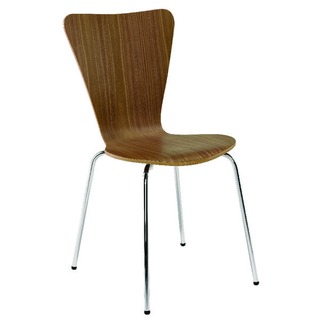 Wooden Bistro Chair Walnut and Chrome (4 Pack)