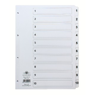 Classic Index 1-10 A4 White Board Clear Mylar Tabs 00901/