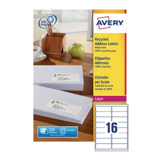 Recycled Laser White Address Label 99.1 x 33.9mm 16 Per Sheet (1600 Pack) LR7162-