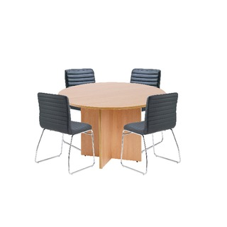 Beech 1200mm Diameter Round Meeting Table with Dart Meeting Chairs