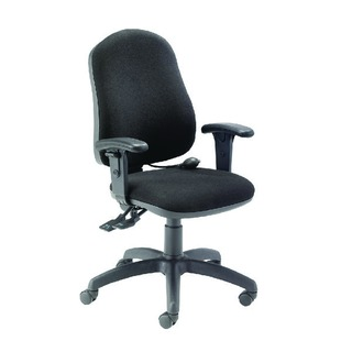 R First High Back Posture Chair with Adjustable Arms Black
