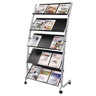 5 Shelf Single Sided Mobile Literature Display Stand 3 x A4 DD5GM