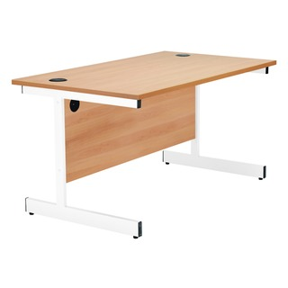 Beech/White 1400mm Rectangular Cantilever Desk