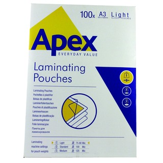 3 Light Duty Laminating Pouches 150 Micron Clear (100 Pack) 6001901