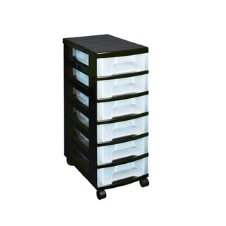 Black Plastic Storage Tower With 6 Drawers ST6X7C