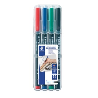 Lumocolor Assorted Fine Tip Permanent OHP Pen (4 Pack) 318-WP4