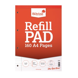 A4 Punched 4 Hole Refill Pad Margin (6 Pack) A4RPFM