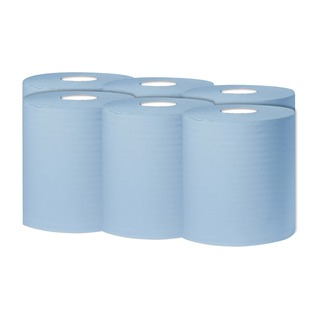 Blue 1-Ply Centrefeed 300 Metre Roll (6 Pack)