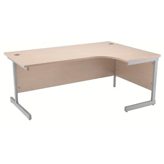 Maple/Silver 1600mm Right Hand Radial Cantilever Desk