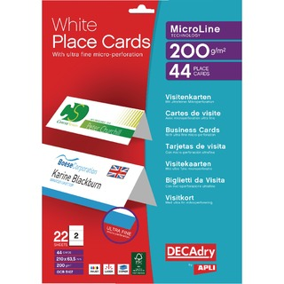 Perforated Place Cards 200gsm White (44 Pack) OCB5107