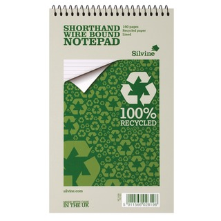 Spiral Bound Shorthand Notebook Recycled 127x203mm 80 Leaf Ruled (12 Pack) RE160-T