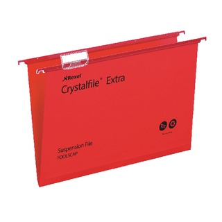 Crystalfile Extra Suspension File Foolscap Red (25 Pack)