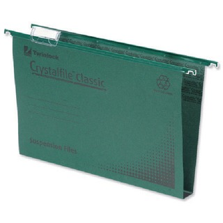 Crystalfile Classic Suspension File Complete 30mm A4 Green (50 Pack)