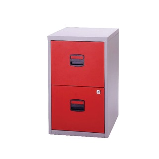 A4 Personal Filing Cabinet 2 Drawer Lockable Grey and Red