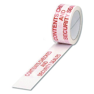 Printed Contents Checked and Security Sealed 50mm x 66m Tape (6 Pack) PPPS-SECURITY
