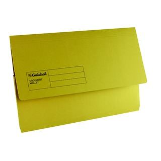 Foolscap Yellow Document Wallet (50 Pack) GDW1-YLW