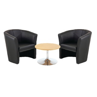 Tub Chairs Black Vinyl and Low Trumpet Base Coffee Table 800mm Diameter beech