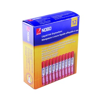 Liquid Ink Dry Wipe Marker Bullet Tip Red (12 Pack) 1901074