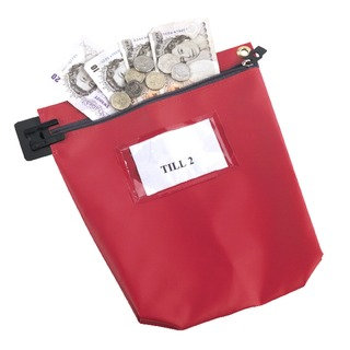 Secure Cash Bag With Window Red CB1R