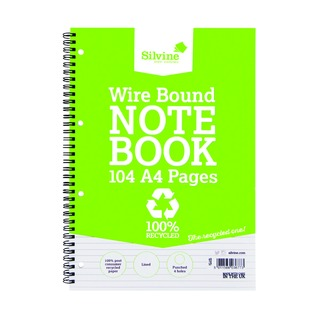 A4 Everyday Recycled Wiro Notebook 104 Pages Feint Ruled (12 Pack) TWRE80