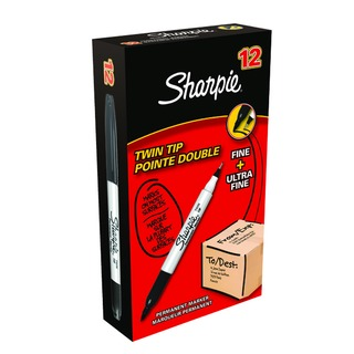 Black Twin Tip Permanent Marker (12 Pack) S08