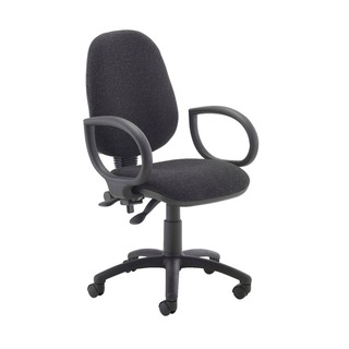 High Back Operators Chair Charcoal with Fixed Arms