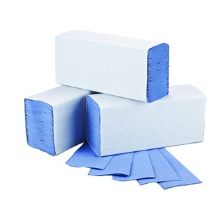 Blue 1-Ply M-Fold Hand Towel 242x240mm (3000 Pack)