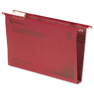 Crystalfile Classic Suspension File Complete 50mm Foolscap Red (50 Pack)