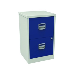 A4 Personal Filing 2 Drawer Lockable Grey and Blue