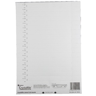 CrystalFile 330 Lateral File Inserts for Lateral File Tabs White (34 Pack)